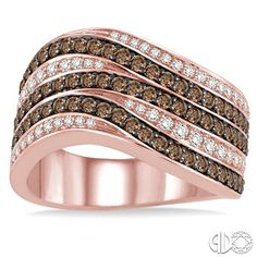 Brown and White Diamond ring in Rose Gold