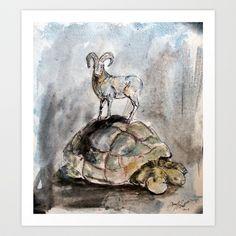 The Ram and the Tortoise Art Print by Yousef Balat @ Hoop Snake Graphics LLC - $17.00