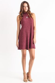Abbeline Sleeveless Mock Neck Dress
