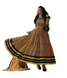 Typify Brown Brasso Fabric Semi-stitched Salwar Suit With Zari And Thread Embroidary