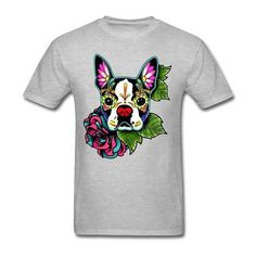 Boston Terrier - Day of the Dead Sugar Skull Cotten T-Shirt