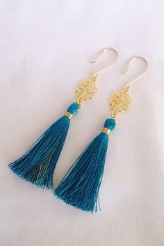 Long tassel earrings, teal and gold with filigree link. Handmade by SophieKateCouture, $13.00