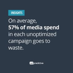 Wasted media spend is the talk of the town. Do you know how much money your team is tossing out the window? On average, we see unoptimized campaigns wasting 57% – MORE THAN HALF! Imagine the possibilities with more efficiency, more impact and more transparency at your fingertips. Let's fix that, together.