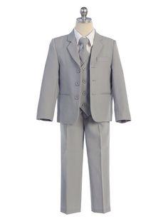 Light grey: Ring bearer suit w/ a Pale blue tie.