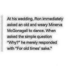 Ron Weasley Dancing with McGonagall at his Wedding Harry Potter headcannons if only they were true