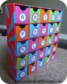 Alphabet storage (magnetic letters, etc. Classroom Organisation, School Organization, Alphabet Activities, Preschool Activities, Speech Activities, Montessori, Advent Calendar Boxes, Material Didático, Making Words