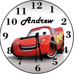 Your place to buy and sell all things handmade Personalized Clocks, Disney Cars Birthday, Disney Inspired, Sally, Mcqueen, Birthday Ideas, Buy And Sell, Handmade, Stuff To Buy