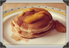 delicious Skinny Bitch apple cinnamon pancakes. Although I make mine with blueberries and top with strawberries.