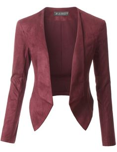 c75f762d29 LE3NO Womens Lightweight Faux Suede Open Front Cropped Blazer Jacket