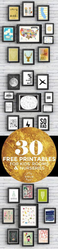 30 Imprimibles gratis para cuartos de los niños • Poco Pixel Oro