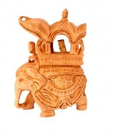 Buy Exquisite Hand Carved Wooden Indian Royal Ambabari Elephant Sculpture Statue Online - Wooden Statues