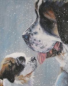 L A Shepard - Saint Bernard Dad and pup