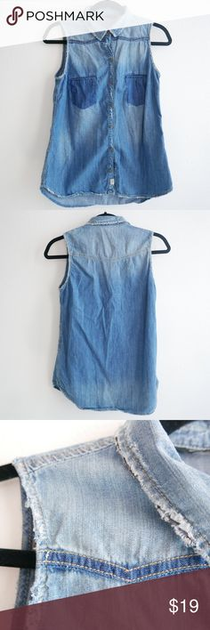 Zara denim chambray tank top Zara denim chambray tank top. Faux front chest pockets are a darker denim wash. Snap button closure. In great condition. Size small. Zara Tops Tank Tops