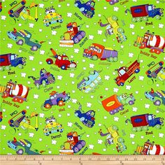 Monster Trucks Truck Toss Slime Green from @fabricdotcom  Designed by Sue Marsh for RJR Fabrics, this cotton print fabric features playful trucks cruising around with their friends. Perfect for quilting, apparel and home decor accents. Colors include black, white, grey, red, golden orange, orange, burnt orange, yellow, purple, light purple and shades of blue and green.