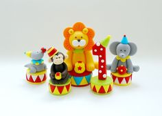 Circus birthday cake topper. Fondant carnival by SugarDecorByLetty