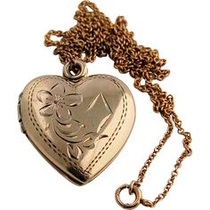 10k Yellow Gold Chain Necklace and Engraved Vintage Double Heart Locket from Antik Avenue on Ruby Lane