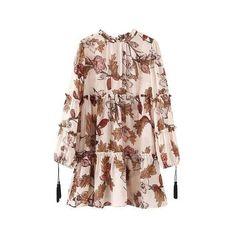 Bohemian floral print tassel long sleeve ruffle chiffon short dress