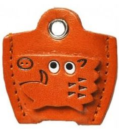 Leather Key Cover Cap Keychain Wild boar