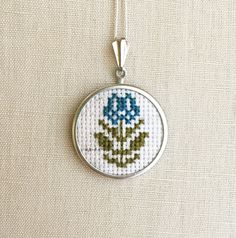 Cross Stitch Tulip Necklace Daisy Jewelry by TheMarshWrenShop