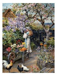 Cottage Garden Plants, French Cottage Garden, Cottage Gardens, Farm Gardens, Garden Bed, Jackson, Cottage In The Woods, Garden Painting, Spring Blossom