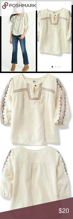 Embroidered Dobby Swing Top Girl Embroidered Dobby Swing Top Girl  New with Tag   Cream color  Size : Small 6/7   Boho girl Shirt super stylish Old Navy Shirts & Tops Blouses