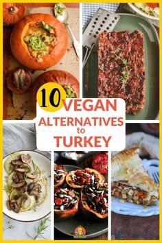 These top 10 vegan alternatives to turkey dinner for Thanksgiving or Christmas include southwest roasted pumpkin stew, vegan lentil loaf, kohlrabi steaks w/ creamy mushroom sauce & more. Choose turkey alternatives and help save a turkey during the holiday season. #veganalternativestoturkey #alternativestoturkeyforthanksgiving #alternativestoturkeyforchristmas #thanksgiving#christmas #dinner #holiday #vegan #vegandinnerrecipes Vegan Lunch Recipes, Best Vegan Recipes, Vegan Dinners, Best Vegan Breakfast, Pumpkin Stew, Vegan Pot Pies, Lentil Loaf, Chickpea Coconut Curry