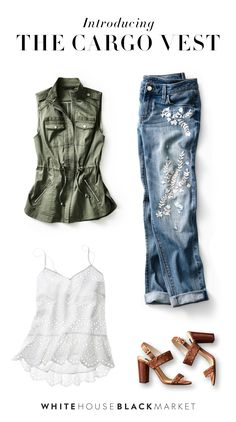 What makes our Cargo Vest unique? On-trend & practical utilitarian details, plenty of pockets, stand-out epaulettes and a waist-cinching tie that adds a feminine flair. The result? The perfect layering piece for summer. Wear over our Eyelet Cami, Embroidered Jeans and Studded Suede sandals – and you're ready for summertime fun and adventure. Style Guide | White House Black Market