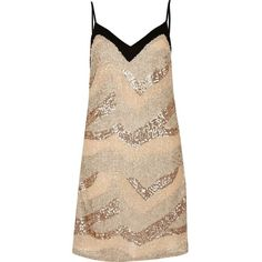 River Island Nude sequin slip dress ($50) ❤ liked on Polyvore featuring dresses, nude, slip / cami dresses, women, sequin camisole, camisole slip dress, sequin cami, layered dress and nude dress