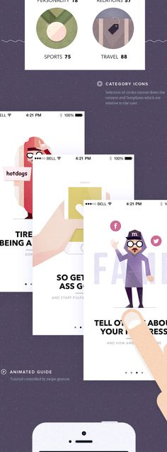 Visionare IOS Mobile App on Behance. 그래픽의 느낌이 독특하고, 메시지 카드에 디자인을 적용할 수 있을 것 같습니다. 링크를 통해 원본 페이지로 가시면, UI 모션도 재미있게 구현되어 있습니다.