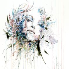 Absolutely love this image from artist Carne Griffiths. Makes me want to make feathered and floral headpieces.