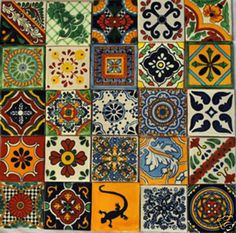 Love the bright colors of Talavera tiles! Hmmm...where could I put them???