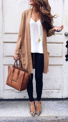 #fall #fashion · Camel Cardigan + White Top + Skinny Jeans #cardiganfall