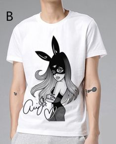 Ariana Grande Mug Shot Official Ladies Fitted White T-Shirt