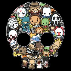 Fun sized horror in a skull :) Horror Cartoon, Horror Movies Funny, Horror Movie Characters, Horror Icons, Horror Films, Scary Movies, Horror Drawing, Slasher Movies, Horror Artwork