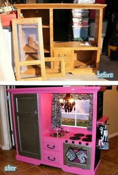 Old tv entertainment center Turned Little Girls Play Kitchen! You can totally do this on the cheep now. People are practically giving these old entertainment centers away! Play Kitchens, Play Kitchen Diy, Childs Kitchen, Tv Stand To Play Kitchen, Toddler Kitchen, Kitchen Sets, Pretend Kitchen, Shabby Chic Buffet, Old Tv Stands