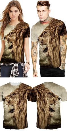 e6cfa06f0 Lion Roar Pattern Design Personality Style Round Neck 3D Painted T-Shirt  for Men&Women