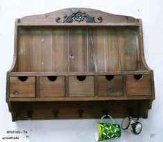 Rustic Country Villa Storage Unit Drawers & Hooks Distressed Wood