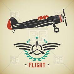 c768b8c29563 Aviation emblem with wings and propeller - old airplane