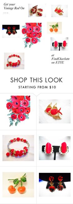 """Get Your Vintage Red On"" by findcharlotte on Polyvore featuring vintage"