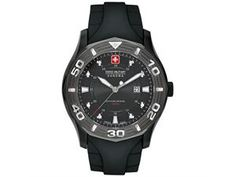 Swiss Military Hanowa Men's Oceanic 06-4170-13-007 Black Rubber Swiss Quartz Watch with Black Dial