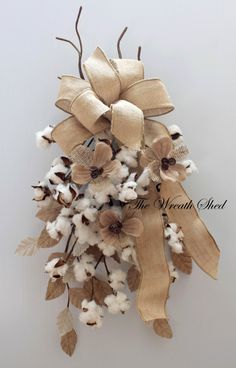 Cotton Door Swag, Cotton Boll Swag, Natural Cotton Bolls, 2nd Anniversary Gifts, Wedding Decor, Primitive Cotton Decor, Swags for Door                                                                                                                                                                                 More Cotton Decor, Cotton Crafts, Christmas Wreaths, Christmas Crafts, Christmas Decorations, 2nd Anniversary Gifts, Wedding Anniversary, Cotton Wreath, Burlap Crafts