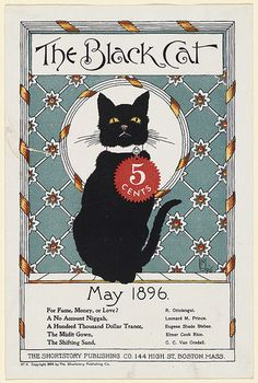 May 1896. The Black Cat Magazine cover. Illustration by by Nelly Littlehale Umbstaetter.