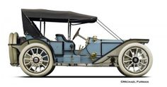 "1910 American Motor Car Company Traveler. one of 300 total units produced of that year, and only one of two in existence. Equipped with the 50 horsepower 5 3/8″ x 5 ½"" four-cylinder Teetor-Hartley built engine, it was priced at $5,000...."