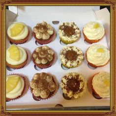 Pineapple, Tiramisu,Bannoffe and Lemon Mousse Cupcakes - by Piece of Cake