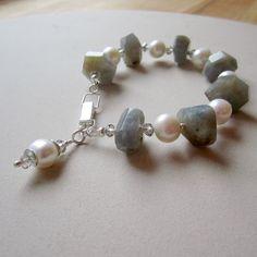 Labradorite Pearl Bracelet Sterling Silver by jewelrybycarmal