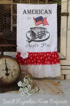 "Flour Sack Kitchen Towel ""American as Apple Pie...4th of July Red, White and Blue, American Flag by SweetMagnoliasFarm, $18.75"