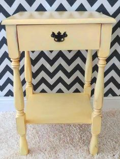 End table makeover w before and after pix.  Other furniture redos here also