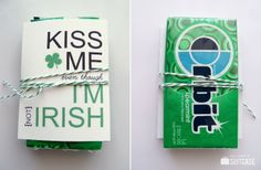 Kiss Me {even though I'm not Irish} tags + gift idea from www.sisterssuitcaseblog.com #stpatricksday #printable