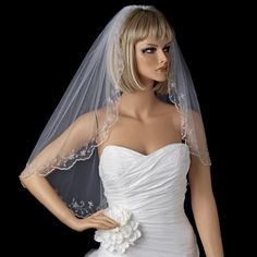 Single Layer Elbow Length Veil with Scalloped Pencil Edge in White or Ivory 101 - $70
