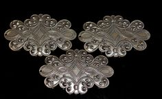Set of 3 vintage brass filigree victorian style by themetalworx, $4.30